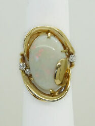 Natural Fire Opal And Old European Earth Mined Diamond Ring 14k Gold Size 6.5