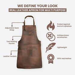 Dark Brown Real Leather Apron Butcher Apron Cook Apron Bbq Apron Cooking Apron A