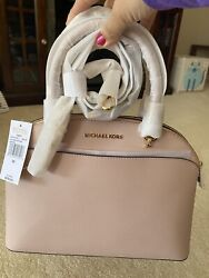 NWT Michael Kors Emmy LG Dome Satchel Crossbody Leather Ballet $115.00