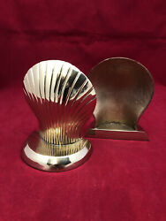 Brass Designed Scallop Shell Pair Of Bookends Solid Vintage