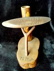 Twig Souvenir Nail Punched Pen Holder, With Nra, Blowing Rock, Nc From 30's-40's