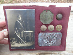 Wwi Russian Empire Belt Buckle Buttons I.d. Tag Photo Of Soldier Soviet Soldat