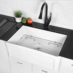Lordear 30 Inch Kitchen Sink White Farmhouse Sink Apron-front Fireclay Ceramic