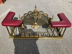 Traditional Gold Fireplace Fender With Red Pad And Fan Plus 2 Andirons.
