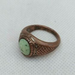 Extremeley Ancient Bronze Ring With Green Stone Rare Artifact Authentic