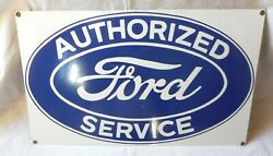Ford Authorized Service Porcelain Sign 18x11
