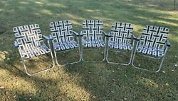 Vintage Set 5 Matching Aluminum Lawn Chairs Outdoor Folding Chairs Webbed Beach