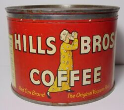 Old Vintage 1936 Hills Brothers Coffee Graphic Tin Can 1 Pound San Francisco Ca