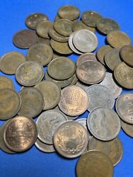 Old Japan 10 Yen 1951 - 1989 Mixed Dates Bronze Temple Coin Unsearched Uncleaned