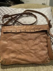 Frye And Co. Odessa Studded Washed Cognac Leather Crossbody Bag