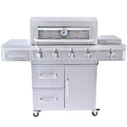 Propane Gas Grill Cart Fixed Piezo 4 Burner Dual Fuel Outdoor Stainless Steel
