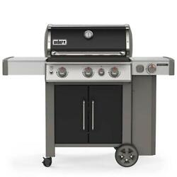 Propane Gas Grill Fixed Electrical Grilling Built In Thermometer 3 Burner Black
