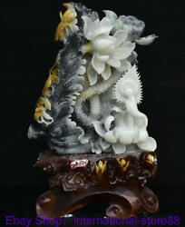 16.8 Chinese Natural Xiu Green Jade Carving Lotus Thorn Flower Luck Base Statue