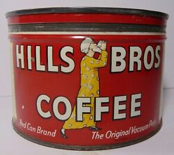 Old Vintage 1950s Hills Brothers Coffee Graphic Tin Can 1 Pound San Francisco Ca