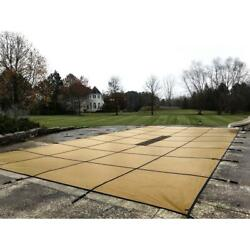 Pool Safety Cover 20x40 Ft Solid In Ground Salt Water Compatible Rectangle Brown