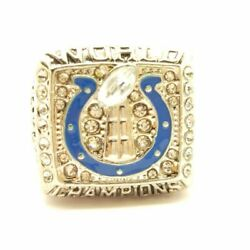 2006 Colts Manning Nfl Super Bowl Sp Brass Championship Ring And Wood Box