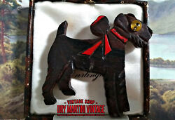 Vintage Art Deco Carved Wood Schnauzer Airedale Terrier Dog Brooch Pin Glass Eye