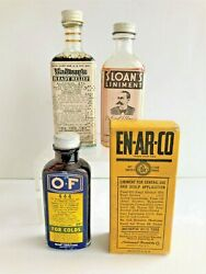 Vintage Apothecary Pharmacy Radway Sloans O And F Enarco Medicine Bottles 1930