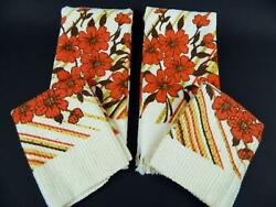 Lot 4 Unused Vintage 1970s Cannon Orange Brown Floral Hand Towels And Washcloths
