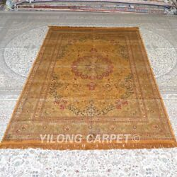 Yilong 6and039x9and039 Handmade Silk Rug Golden Washed Home Interior Floor Carpet Mc319b