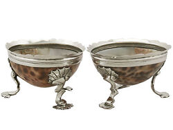 Antique Sterling Silver And Cowrie Shell Salts Circa 1820