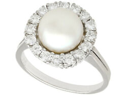 Vintage Cultured Pearl And 0.65 Ct Diamond, 18k White Gold Ring, Circa 1960