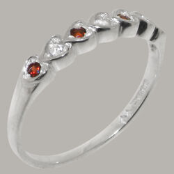 Solid 14ct White Gold Natural Diamond And Garnet Womens Eternity Ring