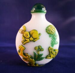 Vintage Chinese Glass Snuff/scent Bottle, With Rabbits And Birds In Green And Yellow