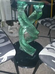 Table Base - Stacked Swirled Glass - 1 Of A Kind