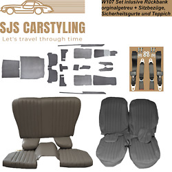 Seat Covers + Back Seat Foldable +carpet + Belts Grey For Mercedes Sl R /