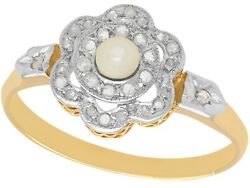 Antique French Seed Pearl 0.18 Ct Diamond 18carat Yellow Gold Cluster Ring