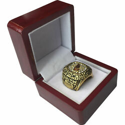1986 Detroit Red Wings 18k Gp Brass Championship Ring And Wood Box