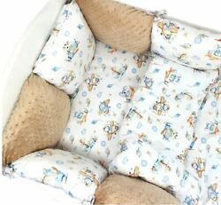 11pcs Pillow Bumper Toddler Bed Crib Bumpers Set Of Bedding For Cot Bed Gold Blu