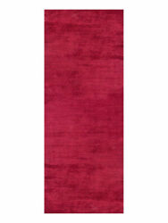 Hand Knotted Silk Mix 2and0398and039and039x12and039 Runner Area Rugs Solid Dark Red Bbh Homes Lsm111