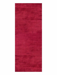 Hand Knotted Silk Mix 2and0396and039and039x8and039 Runner Area Rugs Solid Dark Red Bbh Homes Lsm111