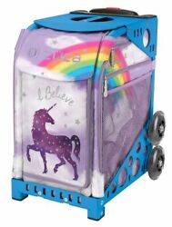 Zuca Unicorn Sport Insert Bag And Blue Frame With Flashing Wheels