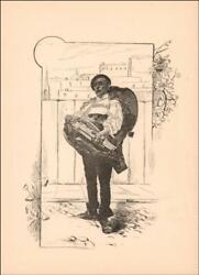 Old Hurdy Gurdy Player+ Article Antique Engraving Original 1891