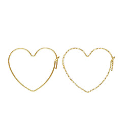 2 Pairs 14k Gold Filled Sparkle Heart Beading Hoop Earrings For Jewelry Making