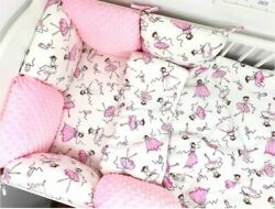 Pillow Bumper 11pcs Pink Toddler Bed Crib Bumpers Set Of Bedding For Cot Bed