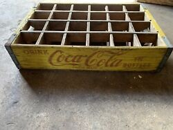 Vintage Coca-cola Wooden 24 Bottle Yellow Crate- Antique Coca-cola Collectible