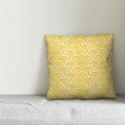 Mcardle Abstract Scallop Indoor Outdoor 18quot; Square Throw Pillow in Lemon TP2692