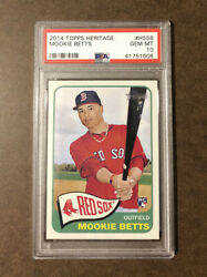 2014 Topps Heritage Mookie Betts Rookie Rc H558 Psa 10 Gem Mint
