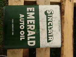 Sinclair Emerald Auto Oil Can 2 Gallon Gas And Oil Advertising Estate Find