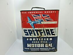 Vintage Rare Spitfire Canadian Six Imperial Quart Motor Oil Can Circa 1940's
