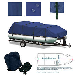 Heavy Duty Trailerable Pontoon Canvas Boat Storage Cover Grey Fits 25and039 - 28and039 L