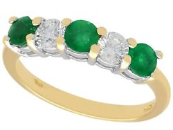 Contemporary 0.72ct Emerald And 0.48ct Diamond 18ct Yellow Gold Ring 2008