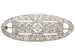 Vintage Art Deco Style 0.27ct Diamond And 18k White Gold Brooch 1940s