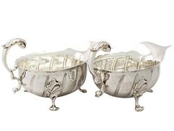 Victorian Sterling Silver Gravy Boats By Daniel And John Wellby 1850-1899 403g