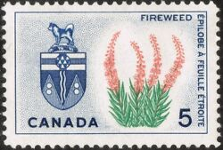 1966 Canada Yukon Territory Coats Of Arms And Fireweed 5andcent Stamp Mnh Scott 428