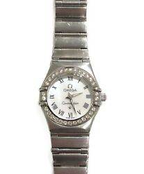 Authentic Omega Constellation Pearl Quartz Ladies Stainless Silver Watch